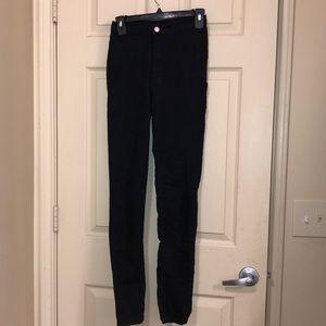 black, super skinny; high waisted; stretchy jeans